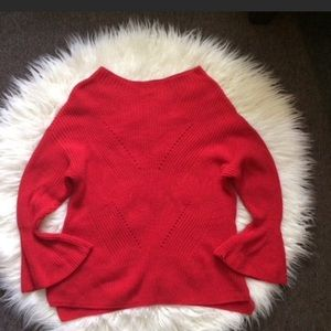 Loft Red Chunky Cable Knit Bell Sleeve Sweater L